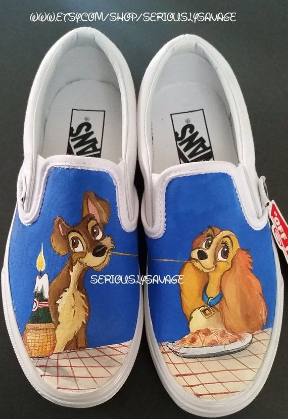 a4b1b2c74f2 Lady And The Tramp Custom Painted Toms Vans or Converse Cute Shoes For your  wedding