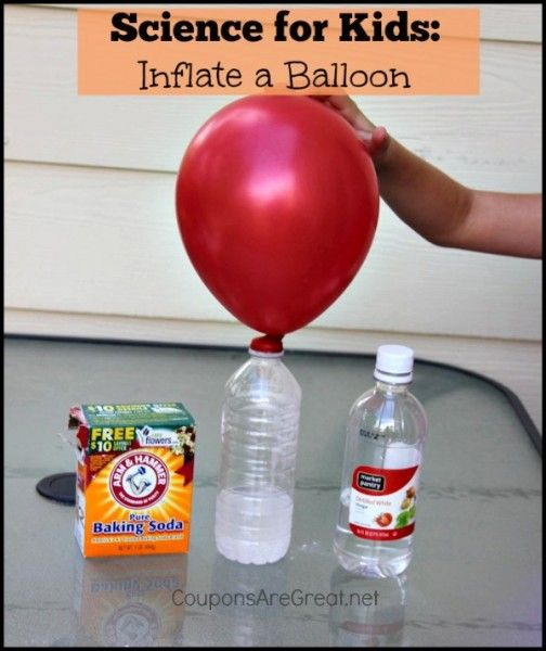 Inflate a balloon with a few simple household items and kids will be amazed with this simple science experiment for kids.