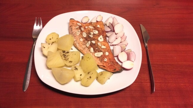 Salmon and potatoes with organic radish from my garden, yummy