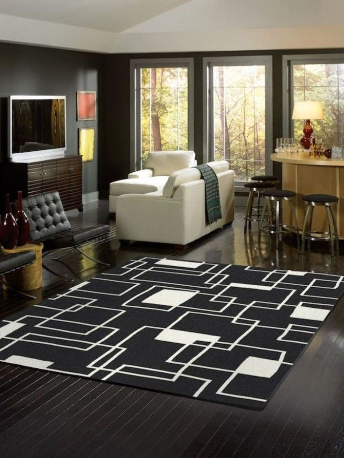 Cheap Black And White Area Rug For Living Room Under $ 100 For Minimalist  Modern Open