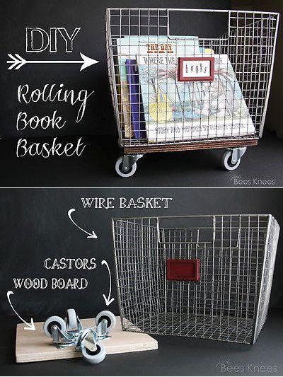 DIY Rolling Book Basket—So clever!