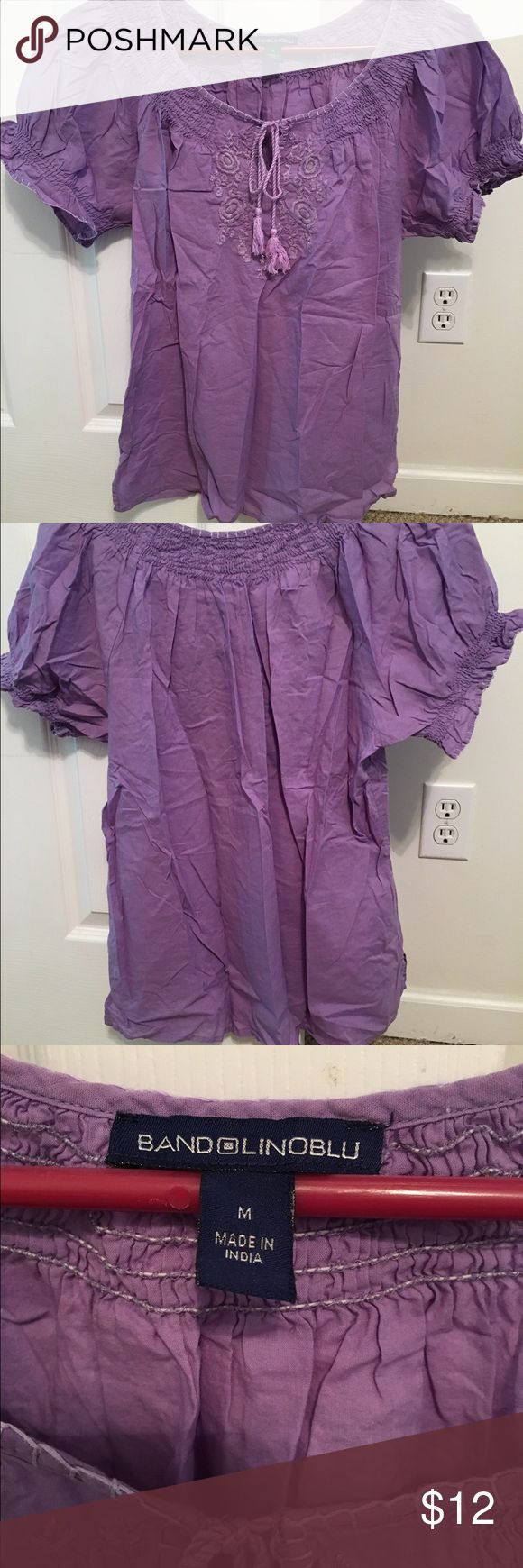 Bandolinoblu tunic top Bandilinoblu purple smock-style top in medium with embroidery at the neckline and side splits at hemline. Bandolino Tops Tunics