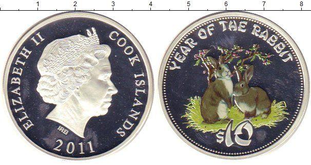 Фотография Монеты Острова Кука 10 долларов Серебро 2011 Елизавета II.  Цветная  печать.  Год  Кролика.