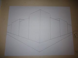 Two-point perspective art project