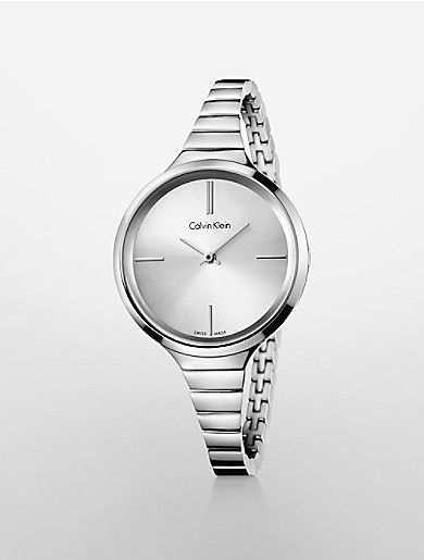this calvin klein lively watch features a stainless steel bracelet and silver dial.