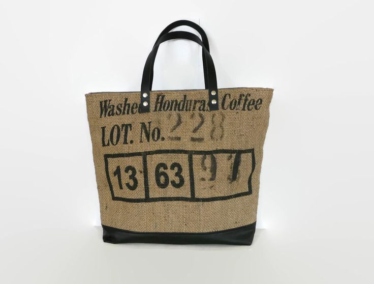 Large tote bag, up-cycled coffee bean sack, original tote bag, canvas shoulder bag, key-cord , black leather straps, up-cycled jeans, OAAK by PippiesDesign on Etsy https://www.etsy.com/listing/465353605/large-tote-bag-up-cycled-coffee-bean