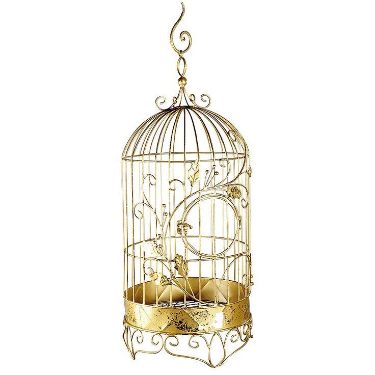 Déco Cage à oiseaux, dorée, 80 cm & Décoration chez DecoWoerner