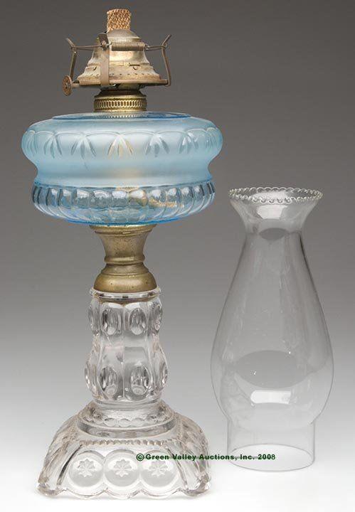 80: MOON AND STAR STAND LAMP, kerosene period, blue fon : Lot 80