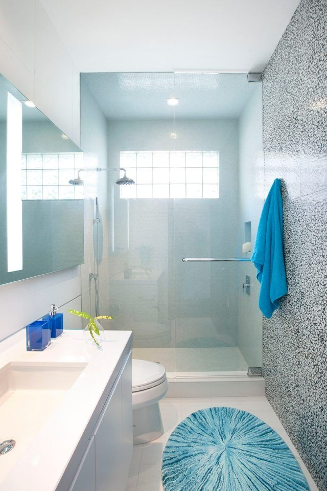 19 best salle de bain images on Pinterest Home ideas, Bathroom and - salle de bain gris et bleu