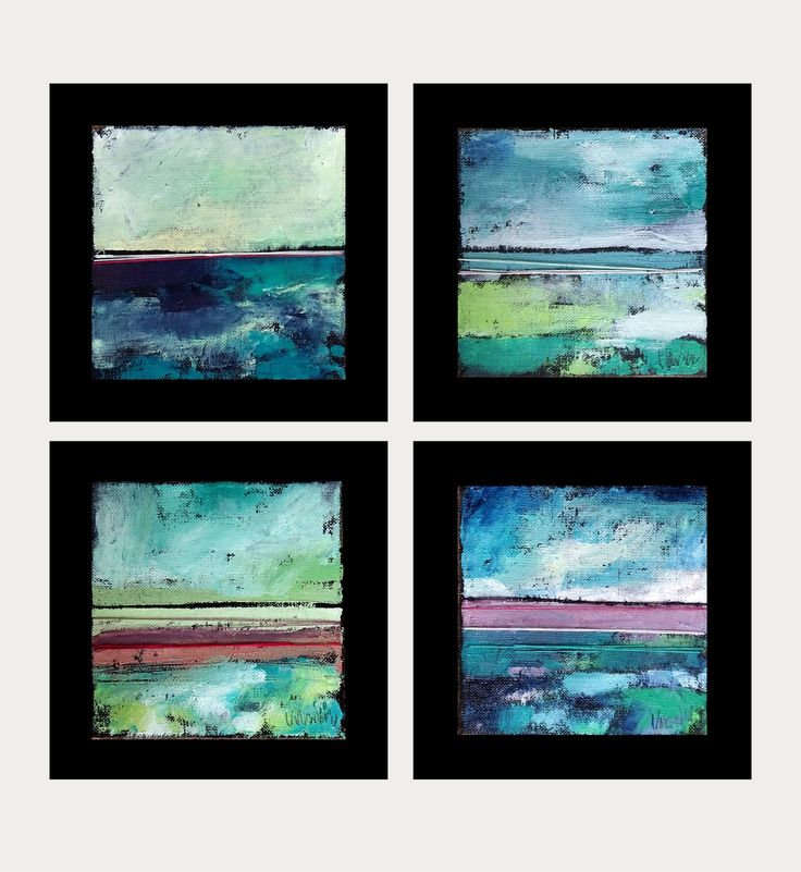 small oil painting series + artistic textile! Abstract landscape 15x15 cm in frame by KarolinaBUrbanska on Etsy