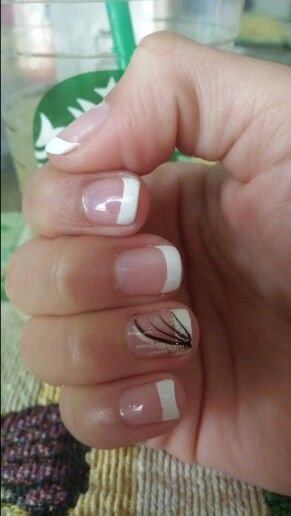 Natural Gel French Tip With A Design ♡