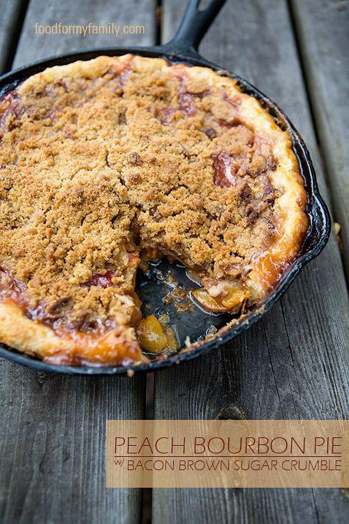 Peach Bourbon Pie with Bacon Brown Sugar Crumble #Recipe | FoodforMyFamily.com