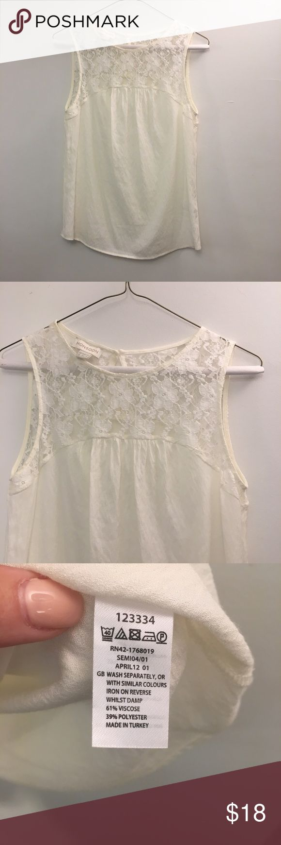 Monsoon cream lace detail top size 4 Beautiful lace upper top from high quality U.K. brand monsoon. Top size 4. Excellent condition. Monsoon Tops Blouses #MonsoonIsHere