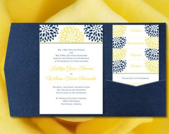 Pocket Fold Wedding Invitations Gianna Navy by WeddingTemplates