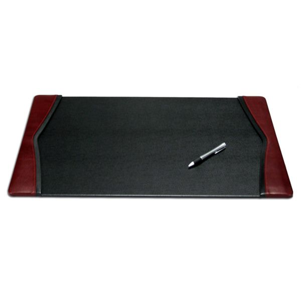 Daco Black And Burgundy Leather Desk Pad With Felt Bottom Ping