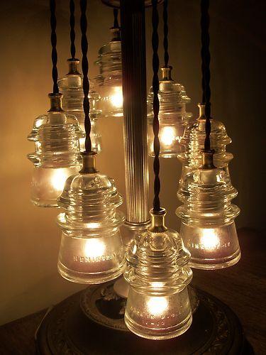 Antique Glass Art Original Lineman Telegraph 8 Glass Insulator Table Lamp  