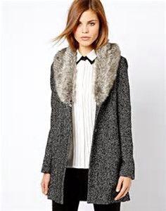 ASOS faux fur collar coat