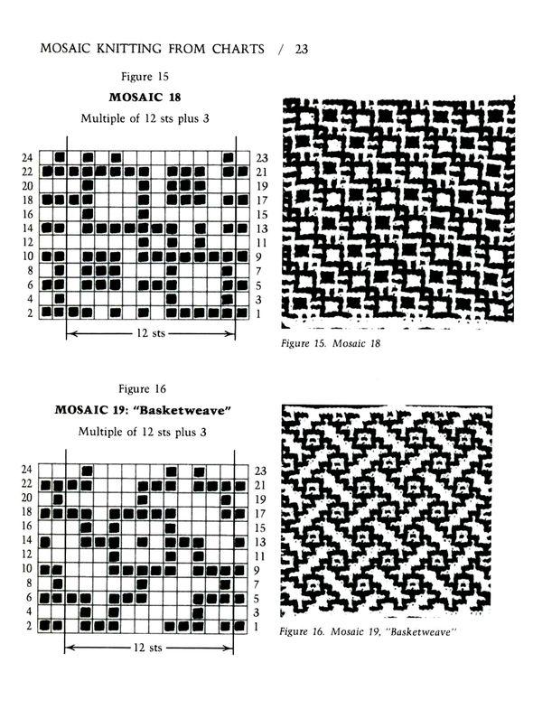 Mosaic Knitting Barbara G. Walker (Slinkais žakards) #28
