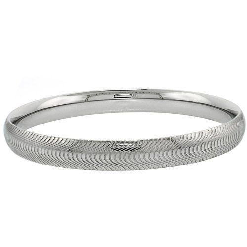 Stainless Surgical Steel Domed Diamond Cut Bangle Bracelet 7.5 Inches Double Accent. Save 65 Off!. $20.99