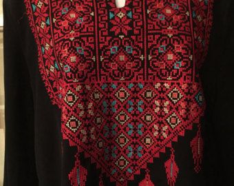 Black dress / top / tunic woth palestinian by PalestinianStitches