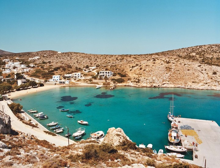 Rooms for rent (and a single hotel) are on the hill just above Iraklia's tiny harbor, Agios Georgios. Livadi Beach (the author's favorite in the archipelago) is a mile's hike away—earn your pleasure!