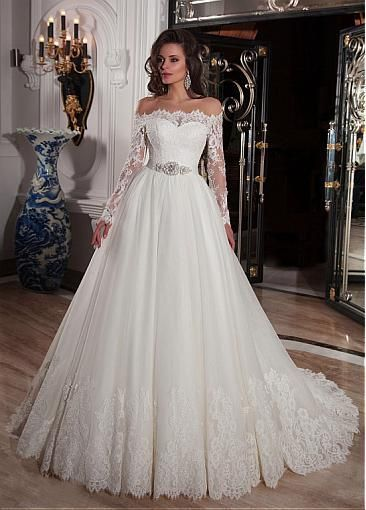 Elegant Tulle Off-the-Shoulder Ball Gown Wedding Dresses with Lace Applique, 348