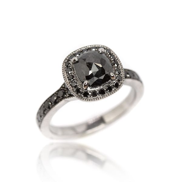 Black Diamond Engagement RIng from Oliver Smith Jeweler.