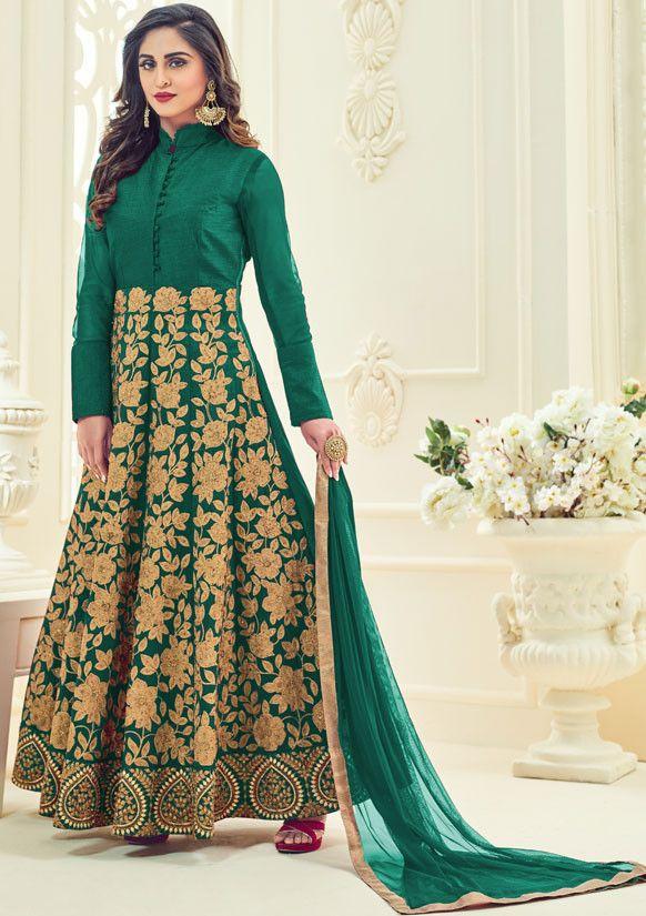 Glamorous Emerald Green Anarkali Suit - Women