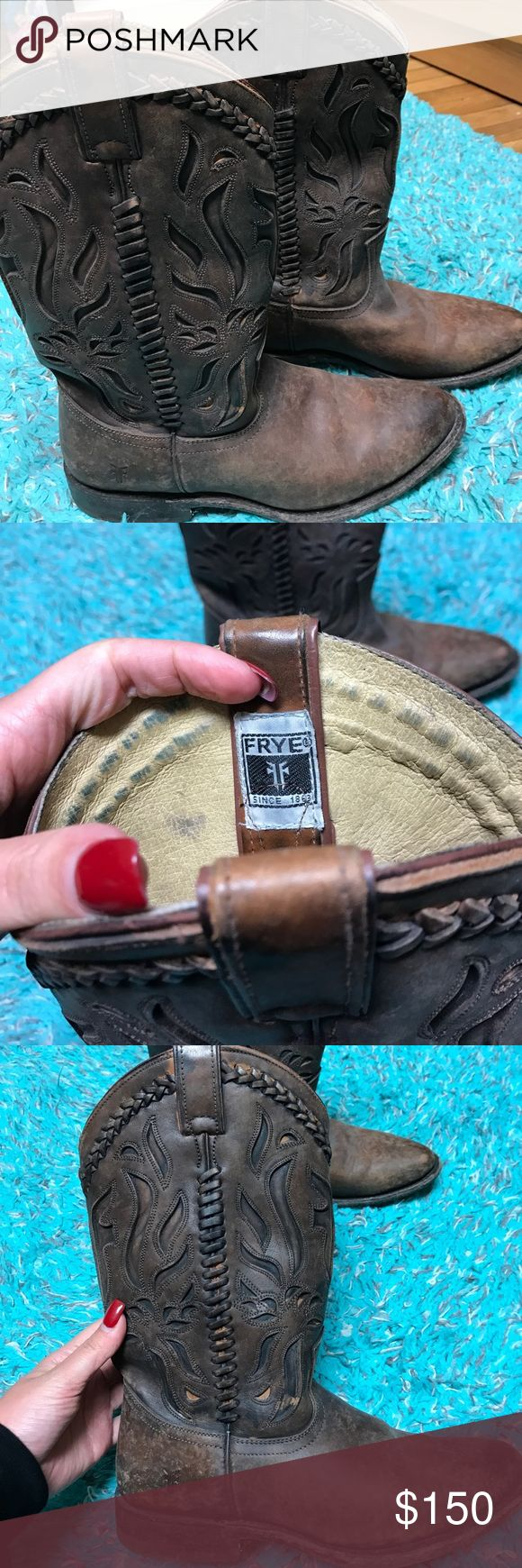 Frye riding boots, size 8 1/2 Beautiful Frye riding cowboy boots, size 8 1/2, worn once and in outstanding condition Frye Shoes Heeled Boots