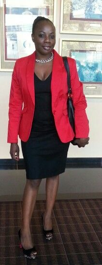 LBD and red blazer