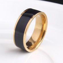 8ミリメートルゴールドメッキブラックストライプ316lステンレス鋼結婚指輪のため男性女性卸売(China (Mainland))