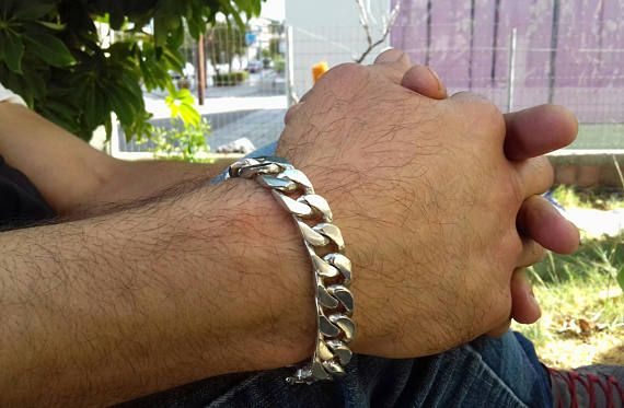 valentines day sale gift mens Bracelet Curb Silver