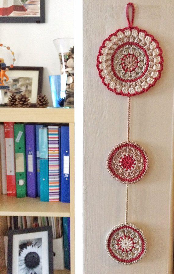 Pomegranate and limestone mandala crochet wall pendant