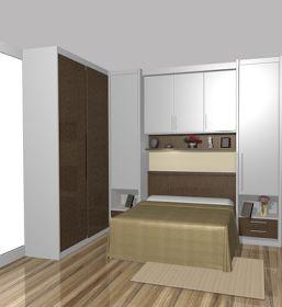 Quarto com cama embutida no armario