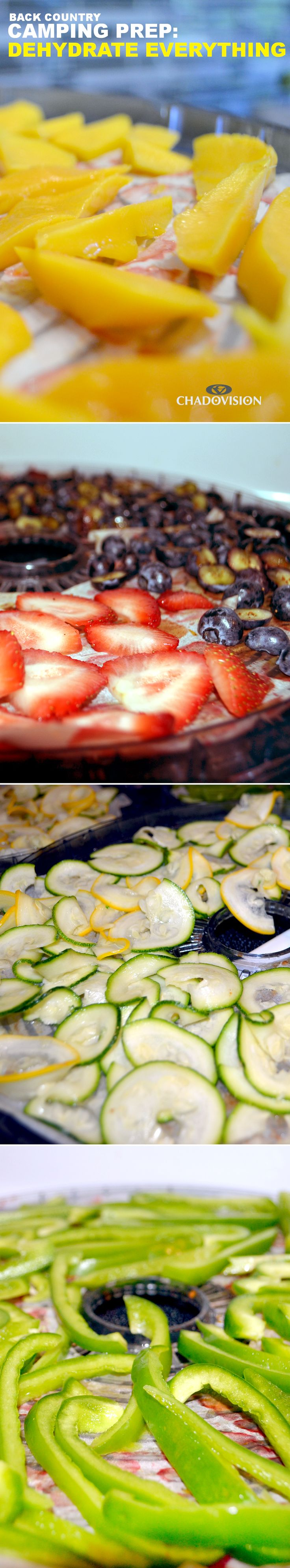 Dehydrate fruits and vegetables for camping or anytime.