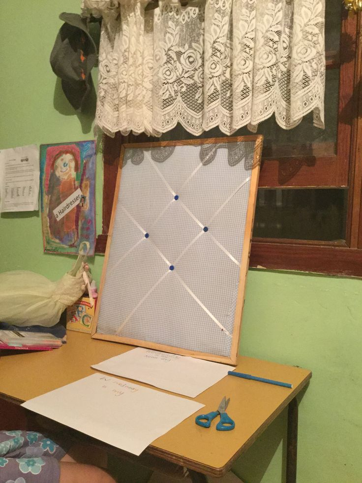 Made this today with my mother. We used an old pin board, an old shirt, cotton batting, 2m of ribbon and four buttons. Put it all together and we have a pin board for school notes.  #organiseschool #oldshirtideas