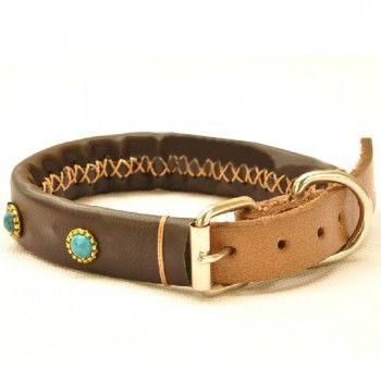 Genuine Leather Diamond Pet Collar Adjustable Leather Dog Collar