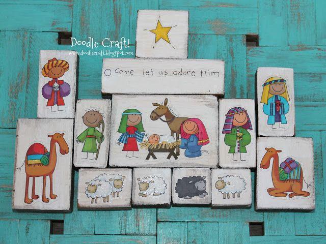 DIY Nativity Set! I love this!  Doodle Craft...: wood