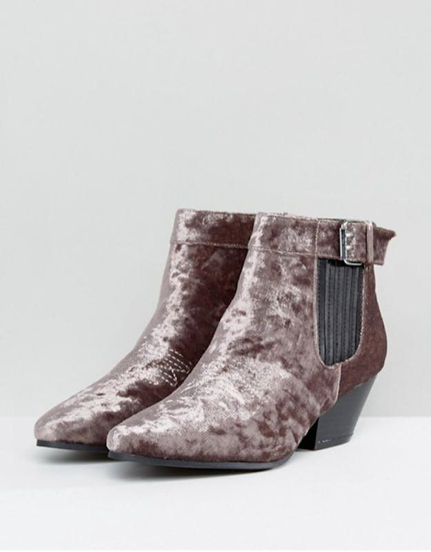 This low heel velvet western boots will carry you into the holidays in serious, crushed velvet style.