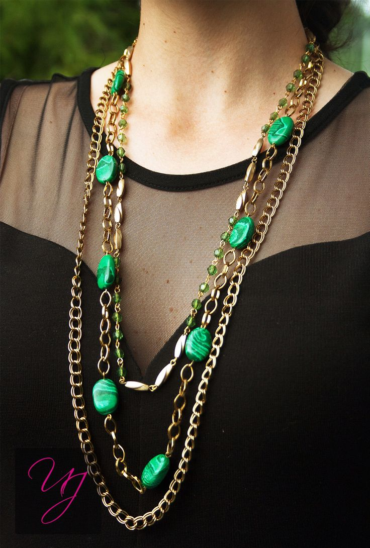 Unnati jewels beautiful green and gold long necklace. A lovely day and night wear with blacks, whites, blues, and many more. For more details and prices please email me at unnatijewels@outlook.com