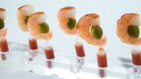 Poached Shrimp Bloody Mary Pipette Chili Salt