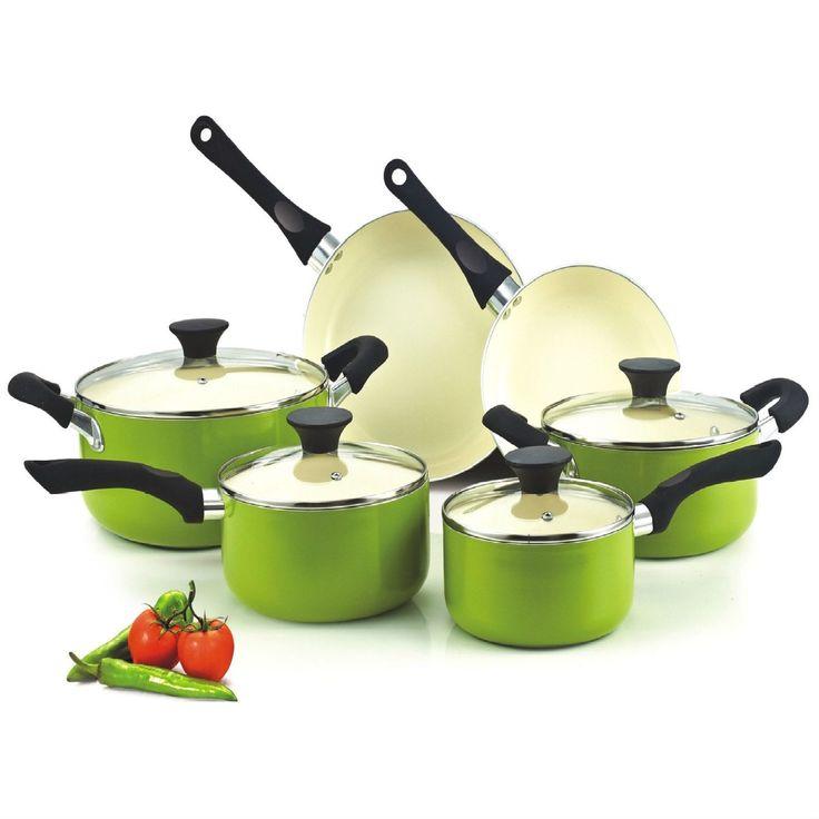 10-Piece Nonstick Scratch Resistant Ceramic Coating Cookware Set in Green