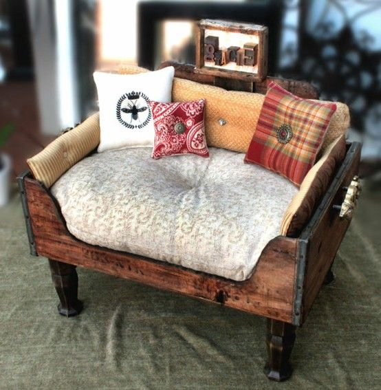 Reclaimed wood dog bed...I could and would totally do this.