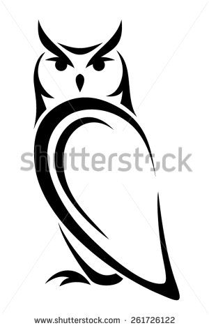 Vector black silhouette of an owl on a white background. - stock vector