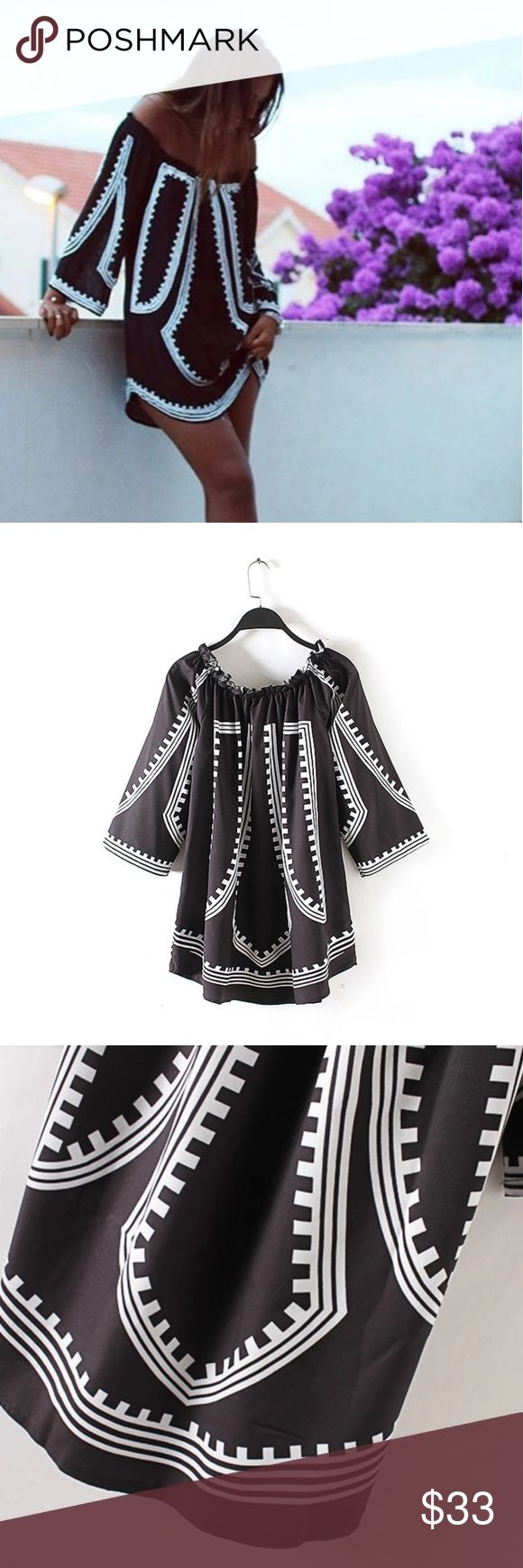 💥FLASH SALE - Mini Boho Dress Material: Polyester Clothing Length: Mid-thigh Style: Casual Sleeve Length: Three Quarter Pattern Type: Geometric Collar: Slash Neck/elastic Sleeve Style: Loose  ⚫NOTE⚫ Absolutely cute! Chiffon/Polyester material; lightweight for Spring. VERY cute on!! Hits mid-thigh when off the shoulder; shorter if up around neck. Curved hem front & back just like stock photo!   👉Dress will be steamed before shipping. Choker available⤵  ⭐PROMO - Bundle Black Bar Choker with…