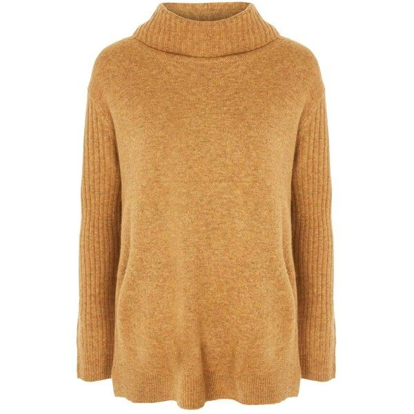 Topshop Oversized Funnel Neck Jumper ($53) ❤ liked on Polyvore featuring tops, sweaters, topshop, ochre, over sized sweaters, checkered top, topshop sweater, oversized sweaters and jumpers sweaters