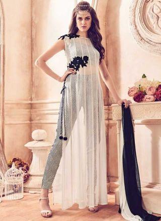 White Black Embroidery Work Georgette Crepe Designer Long Anarkali Suit http://www.angelnx.com/Salwar-Kameez/Bollywood-Salwar
