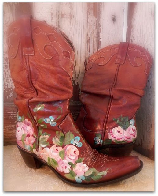 Painted cow girl boots with tutorial.  Not that you need a tutorial, but I could totally see you painting something like these, and it would turn out beautiful!
