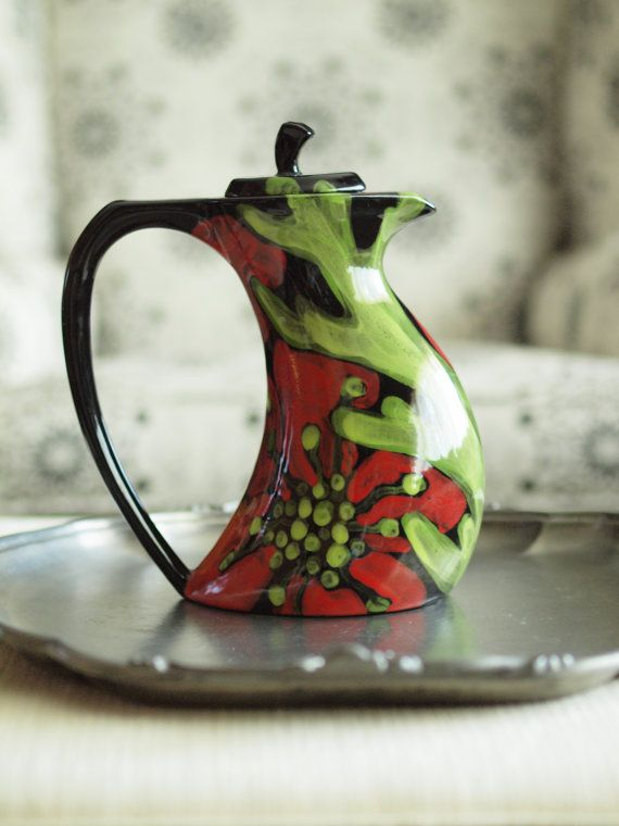 Floral Ceramic Teapot - Red Poppy Funky Teapot - Colorful Ceramic Botanic Pottery Happy Home Decoration August Birthday Gift on Etsy, $88.00