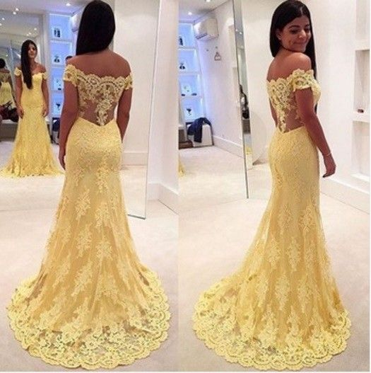 Mermaid Prom Dress 2016 Yellow Off The Shoulder Sleeveless Trumpet With Appliques Lace Tulle Vestid on Luulla